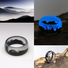 Wood resin ring Mysterious World Handmade jewelry Epoxy resin rings for women