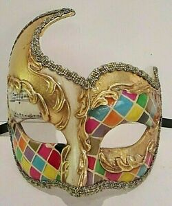 MAR12 HANDMADE IN ITALY, MASQUERADE, PAPIER MACHE PARTY EYE MASK, MULTICOLOURED