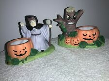 New Listing2 Halloween Candle Holders-Witches, Trees