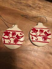2 Ceramic Ornament Christmas Ball Ornament Shaped Tree Ornament White Red