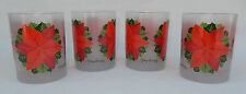 4 Vintage Georges Briard Frosted Poinsettia 14 oz. Glasses * New Old Stock