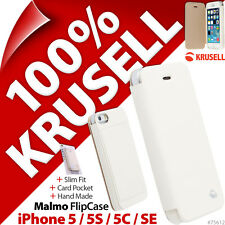 Krusell Malmo Flip Case Cover Wallet Folio White for Apple iPhone 5 5S 5C SE