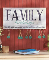 Wood Family Birthday Reminder Calendar Plaque Sign w/ 24 Tags Hanging Wall Decor