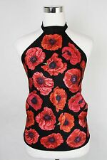 New Gucci Black Red Poppy Silk Floral Scarf Halter Top 327378 1074