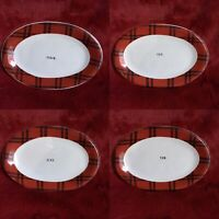 "Rae Dunn Red Christmas Plaid Snack plates Set of 4 DINE EAT SNACK YUM 8.5""x5.5"""