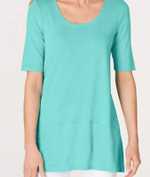 NEW J JILL L XL Pima Slub-knit S/S Dipped hem Tunic Knit Top Capri/Aqua Blue