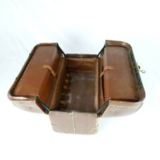 Emdee By Schell Vintage Brown Leather Cowhide Doctors Bag Case With Key