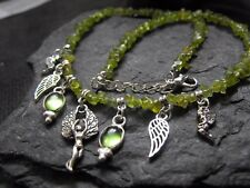 Ethnic charm dangle ANGEL FAIRY cabochon PERIDOT gemstone chips choker necklace