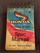 1982-1986 Honda Quick Reference Sevice Specs Manual All Motorcycle Scooter Atv