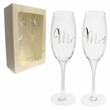 Wedding Anniversary Mr and Mrs Champagne Flute Glass Gift Set