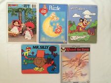 "Vintage 80s Board Puzzle Lot Mighty Mouse ""Return Of The Jedi"" Monchhichi More-"