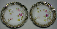 Nice Pair of Marked Dresden Germany Porcelain Bowls With Flowers And Gold Trim