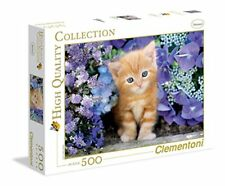 """Clementoni """"Ginger Cat In Flowers """" Puzzle (500 Piece)"""