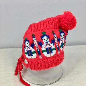 Vintage Baby Hat Bonnet Winter Hat Christmas Snowman Holiday Pompom Red