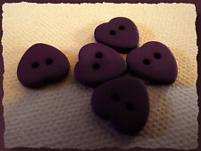 7 BOUTONS COEUR violet mat 12 mm 1,2 cm  2 trous heart Button sewing lot couture