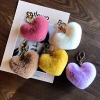 Cute Fluffy Key Chain Lovely Heart Shape Pompon Key Ring Holder Bag Pendant 1pc