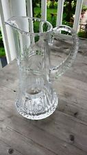Stunning Antique American Cut Crystal Tankard Pitcher – Engraved Flowers