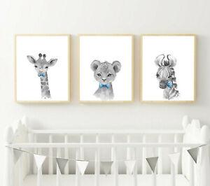 Jungle Safari Animals Picture Prints Boys Bedroom Nursery Decor Wall/ Word Art