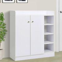 Shoe Storage Cabinet Footwear Rack Stand Organiser w/Adjustable Shelves White