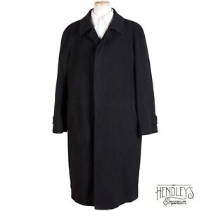 Mens SAKS FIFTH AVENUE Cashmere Overcoat XL (46R) in Charcoal Black ITALY