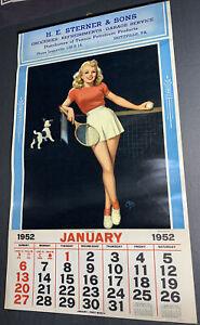 1952 Pin Up Tennis Calendar Sign Walt Otto Texaco Gas Oil Seitzville PA