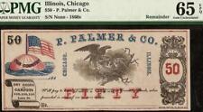 GEM 1860s P. PALMER DRY GOODS CARPETS NOTE CHICAGO ILLINOIS LAKE ST. PMG 65 EPQ