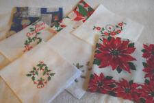 7 Vintage Xmas Handkerchiefs Hankies Embroidery Holly Poinsettia BLUE 1966-EXC