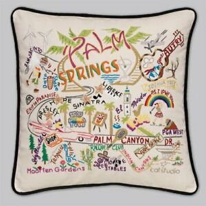 CatStudio Palm Springs Embroidered Handmade Pillow NEW