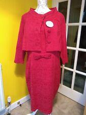Lindy Bop Maybelle Crimson Red Twin Set Pencil Dress & Jacket Size 22