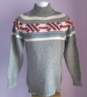 VTG Mens SPORTSWEAR Grey Crew Neck Wool Mix Nordic Jumper Size Extra Small (66f)