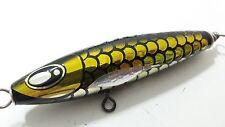 Seven Seas Stick Bait Wood Pencil GT Popper Sinking Fishing Lure 60g Yellow Gold
