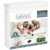 Queen Size SafeRest Premium Hypoallergenic Waterproof Mattress Protector - Vinyl