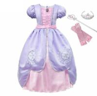 Sofia Dress Short Sleeve Sophia Princess Costume Girls Cosplay Party Ball Gown