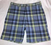 PGA Tour Mens Golf Shorts Size 36 Light Blue Green Black Plaid 4 Pockets