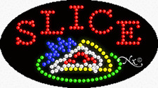 """NEW """"SLICE"""" PIZZA 27x15x1 OVAL SOLID & ANIMATED LED SIGN w/CUSTOM OPTIONS 24476"""