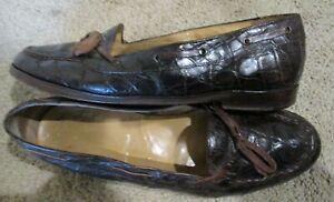 RALPH LAUREN brown crocodile gator loafers  dress shoes sz 9.5