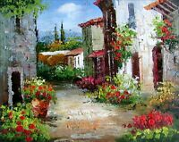 Stretched, Tuscany Italy Landscape-12, Quality Hand Painted Oil Painting 8x10in