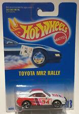 HOT WHEELS TOYOTA MR2 RALLY #233 White w/ 3 Spoke Chrome Rims New on Card 1991