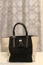 Karen Millen Colour Block Zebra Pony Tassel Charm Suede Leather Hand Tote Bag