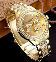 Ladies Womens Silver Geneva Chronograph Date Designer Style Crystals Bling Watch