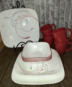 Corelle® Splendor, Square, 12 Piece, Dinnerware Set Includes 4 Red Mugs