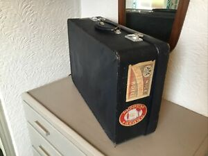 Super Vintage 1950s Antler Navy Blue Suitcase with travel labels #6452