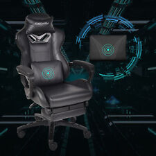 Massage Racing Gaming Stuhl Chefsessel Bürostuhl Drehstuhl mit Fußstütze Schwarz
