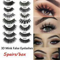 5Pairs 3D Real Mink Hair False Eyelashes Extension Wispy Fluffy Think Lashes Lot