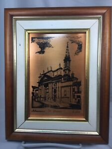Copper Plate Print Allesandro Cathedral Il Duomo, Italy 1/400-Framed, Gift Idea