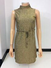Nuevo Vestido Body Con de oro Topshop BNWTs Talla 34 Reino Unido 6 RRP £ 28