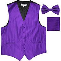 New Men's Formal Vest Tuxedo Waistcoat_bowtie & hankie set stripes purple