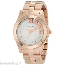 NEW MARC JACOBS ROSE GOLD TONE STAINLESS STEEL RIVERA LOGO WATCH-MBM3135