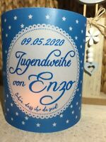 4 x Tischlicht Jugendweihe Blau Tischdeko Windlicht Deko Set mit Namen & Datum