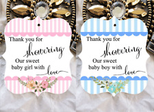 10 White Gift Tags Baby Shower Thank you for showering Our Girl Boy Blue Pink